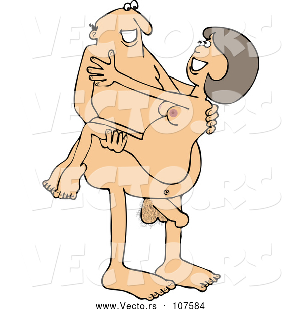 Vector of Cartoon Naked White Guy Carrying a Lady