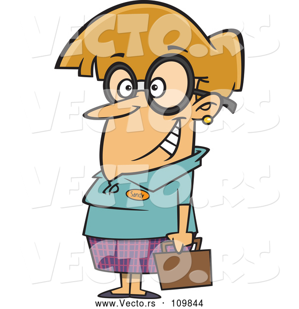 Vector of Cartoon Nerdy Dirty Blond White Lady with Big Glasses, Holding a Briefcase