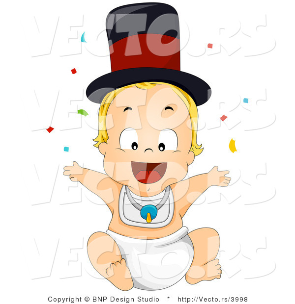 Vector of Cartoon New Years Baby Boy Throwing Confetti into the Air