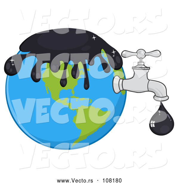 Vector of Cartoon Oil Drop Leaking from a Faucet from Planet Earth