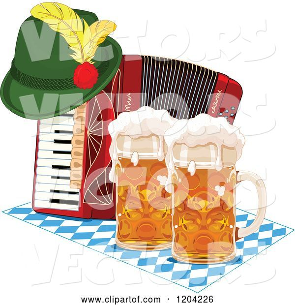 Vector of Cartoon Oktoberfest German Hat on an Accordion with Beer Mugs