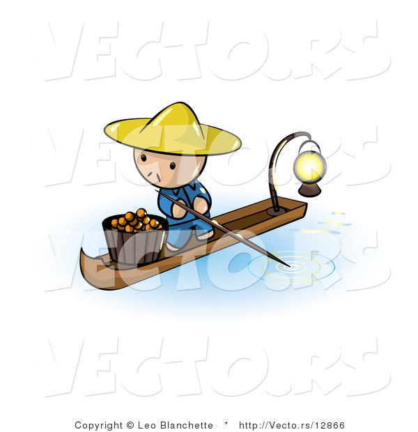 Vector of Cartoon Oriental Guy in a Floating Market Boat with Oranges