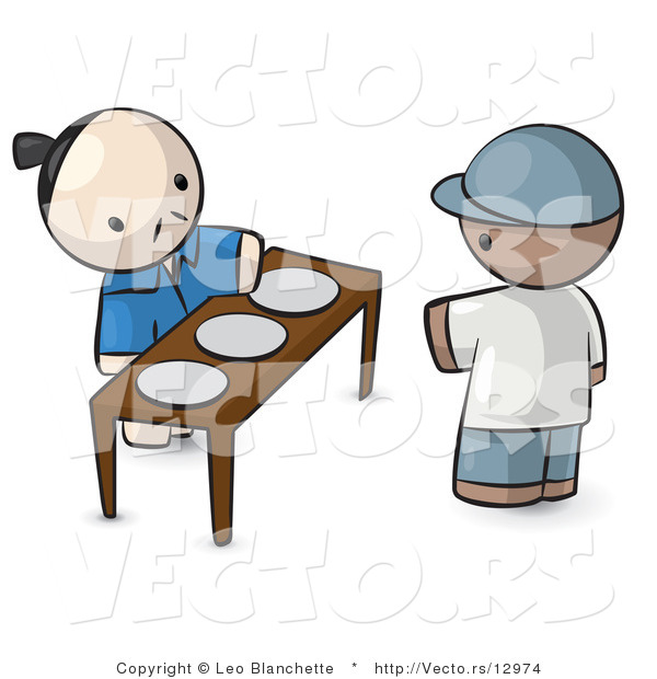 Vector of Cartoon Oriental Guy Serving 3 Plates to a Customer