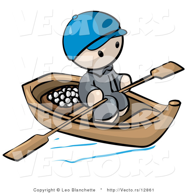 Vector of Cartoon Oriental Guy Transporting Food by Wood Boat with Paddles