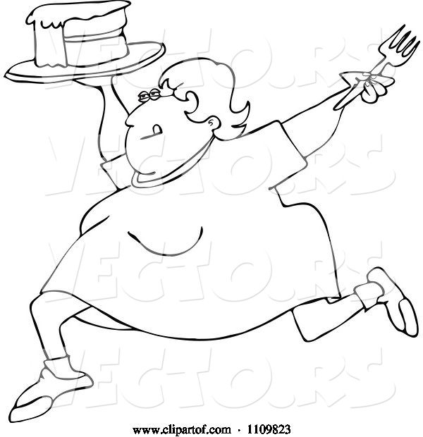Vector of Cartoon Outlined Happy Fat Lady Running with Cake