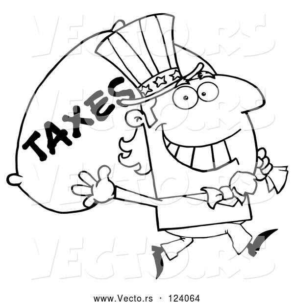 Vector of Cartoon Outlined Uncle Sam Carrying a Taxes Sack