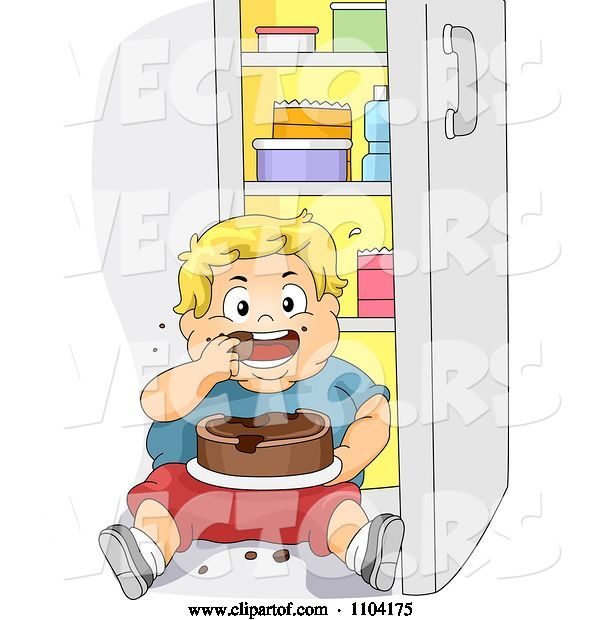 Vector of Cartoon Overweight Blond Boy Eating Cake in Front of a Refrigerator