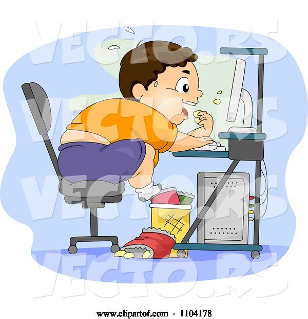 Vector of Cartoon Overweight Brunette Boy Eating Junk Food at His Computer