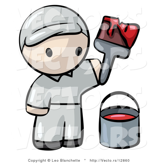 Vector of Cartoon Painter Holding Paintbrush with Bucket and Red Paint