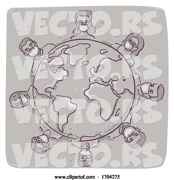 Vector of Cartoon Pandemic Global Health Threat Illustration