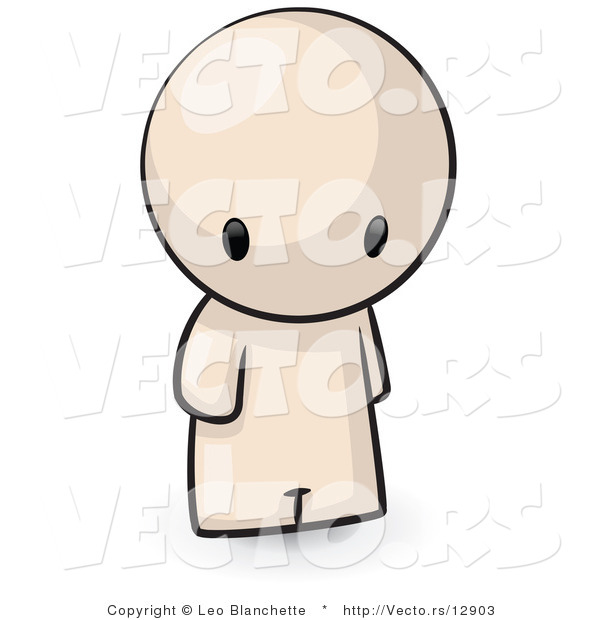 Vector of Cartoon Person Standing and Looking Downwards Towards the Ground