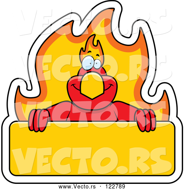 Vector of Cartoon Phoenix Bird with a Flaming a Sign