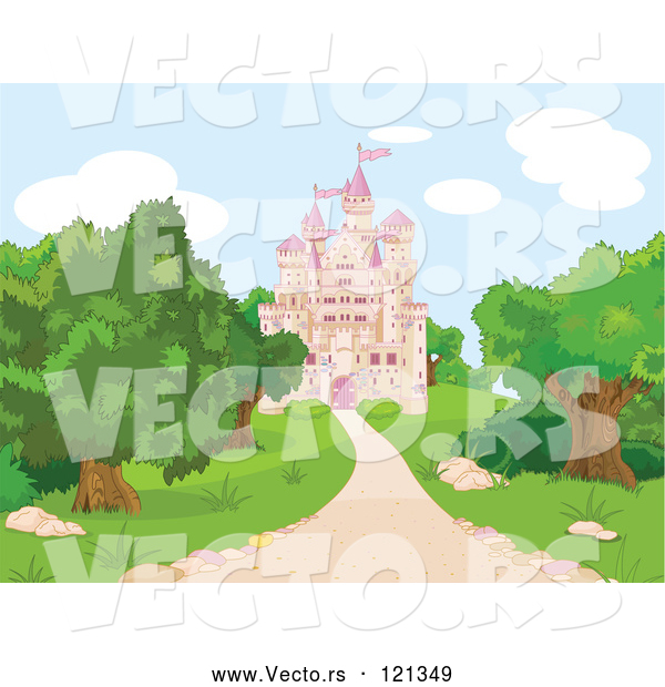 Vector of Cartoon Pink Fairy Tale Castle and Grounds
