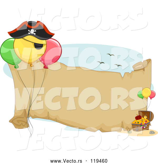 : Vector of Cartoon Pirate Birthday Party Themed Banner with Balloons and Treasure