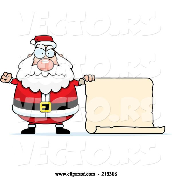 Vector of Cartoon Plump Angry Santa with a Blank Scroll Sign
