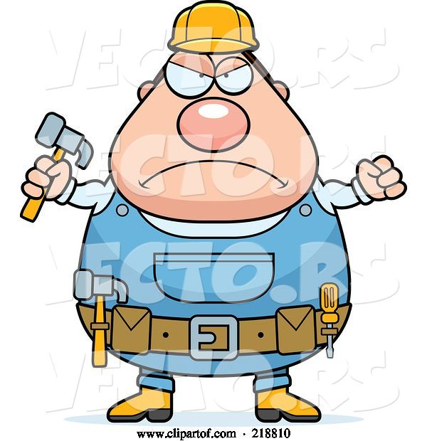 Vector of Cartoon Plump Builder Guy with a Fist and Hammer