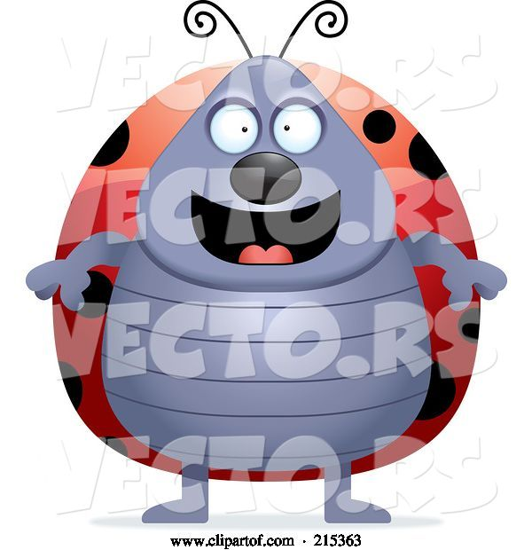 Vector of Cartoon Plump Ladybug Standing on Its Hind Legs