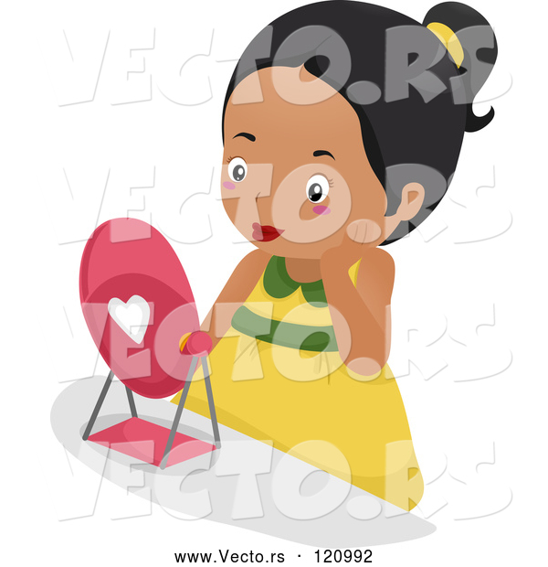 Vector of Cartoon Pretty Black Girl Wearing Makeup and Looking in a Mirror