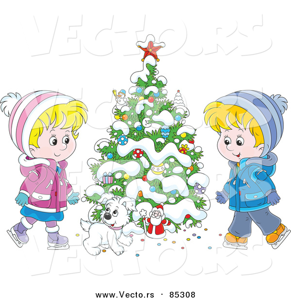 Vector of Cartoon Puppy with Children Ice Skating Beside a Flocked Christmas Tree