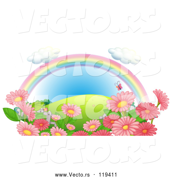 Vector of Cartoon Rainbow over a Hill with Pink Flowers and Butterflies