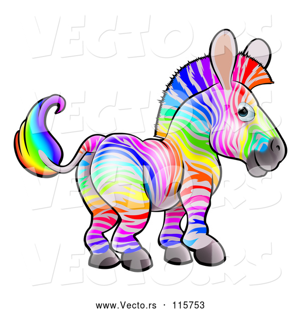 Vector of Cartoon Rainbow Striped Zebra