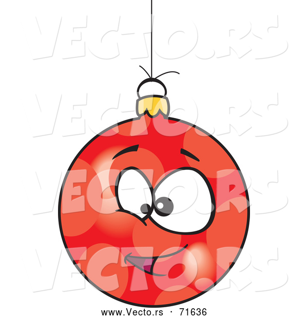 Vector of Cartoon Red Christmas Bauble Face