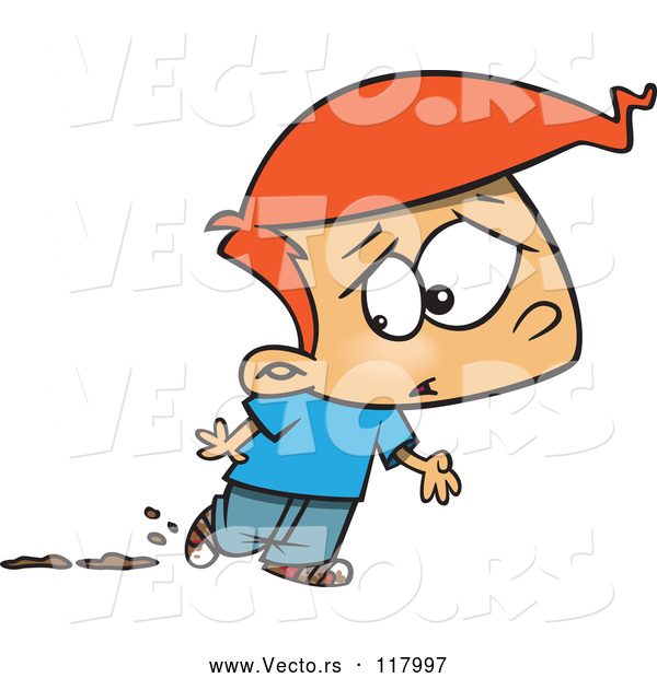 Vector of Cartoon Red Haired Boy Worried About Muddy Shoes