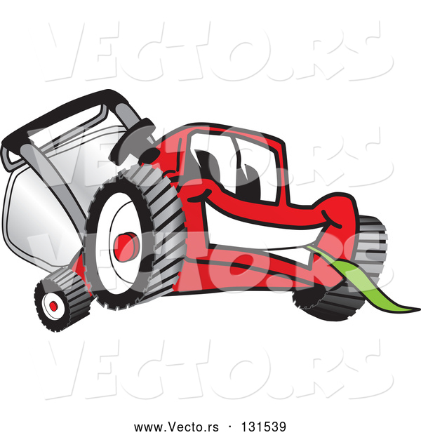 Vector of Cartoon Red Lawn Mower Mascot Character Smiling and Eating Grass