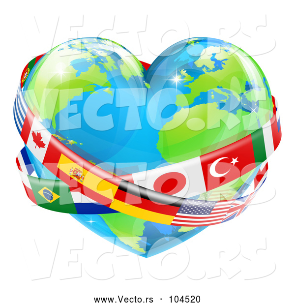 Vector of Cartoon Reflective Heart Earth Globe with National Flag Sashes