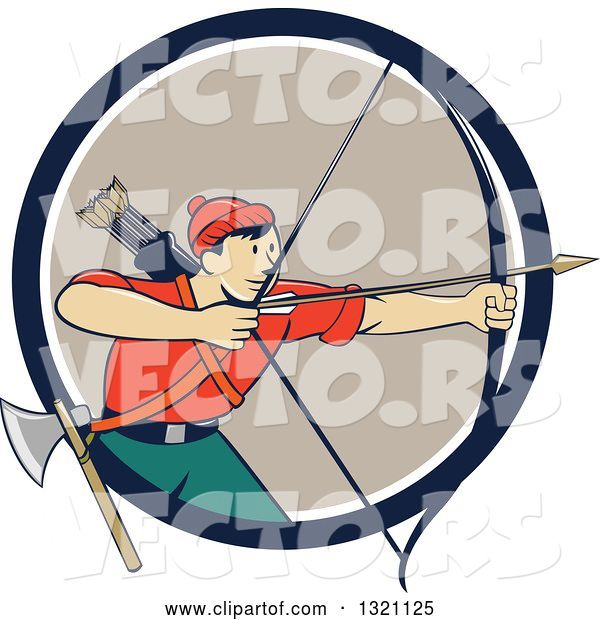 Vector of Cartoon Retro Male Archer Aiming an Arrow and Emerging from a Navy Blue White and Tan Circle