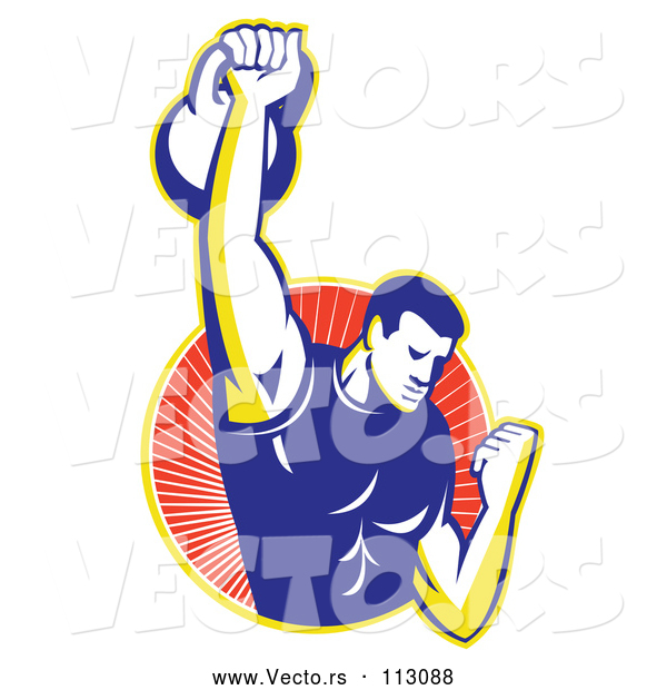 Vector of Cartoon Retro Male Bodybuilder Lifting a Kettlebell and Emerging from a Yellow and Red Ray Circle