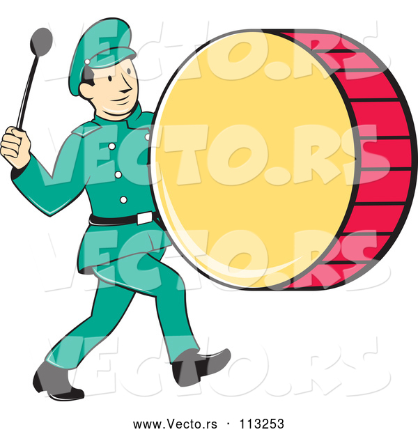 Vector of Cartoon Retro Marching Band Drummer Guy