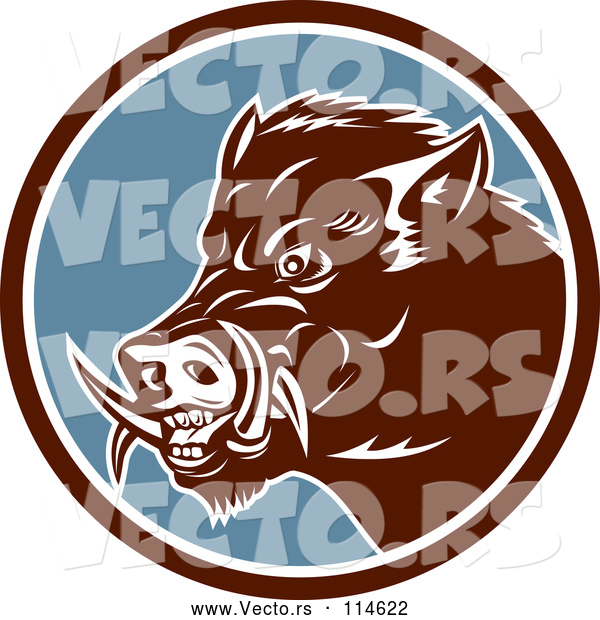 Vector of Cartoon Retro Wild Boar Pig in a Brown White and Blue Circle