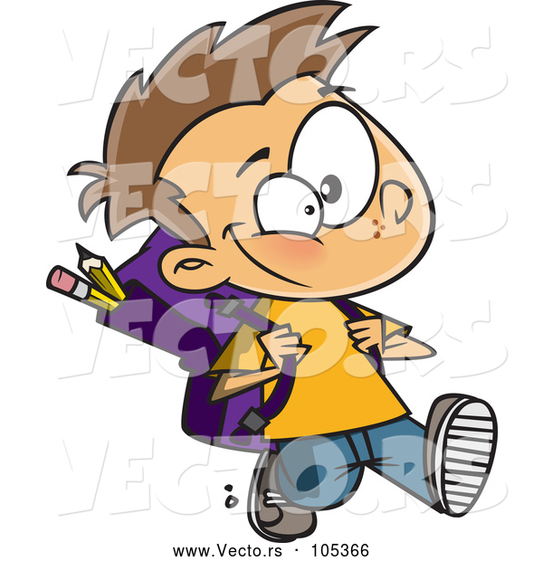 Vector of Cartoon School Boy Walking