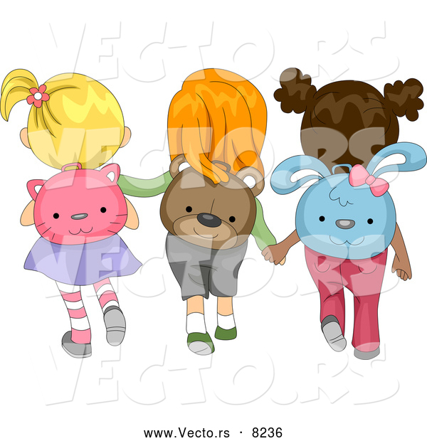 Vector of Cartoon School Girls Wearing Animal Backpacks While Walking Together