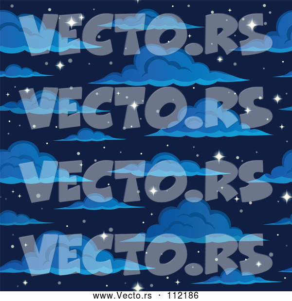 Vector of Cartoon Seamless Night Sky with Sparkling Stars and Clouds
