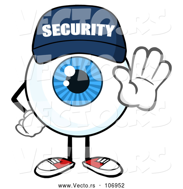 Vector of Cartoon Security Guard Eyeball Character Mascot Gesturing Stop