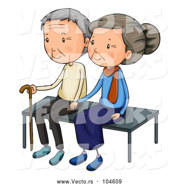 Vector of Cartoon Senior Couple Sitting on a Bench Together