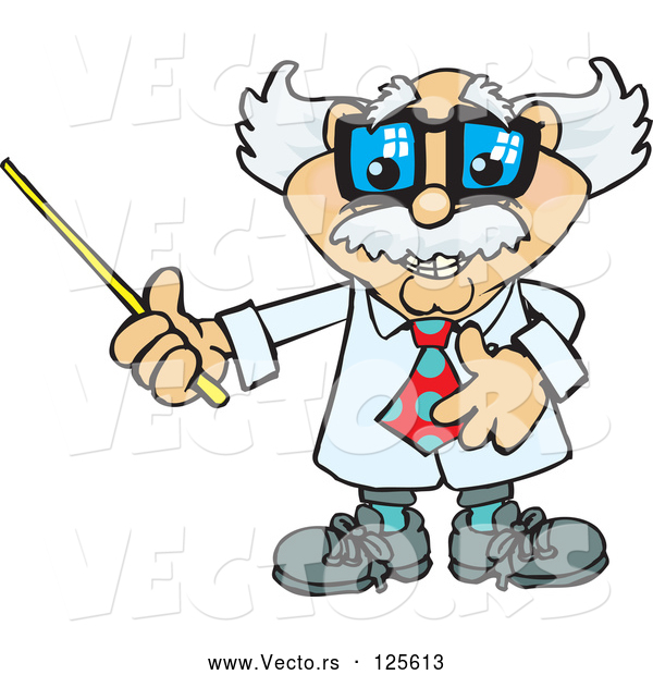 Vector of Cartoon Senior Professor Holding a Pointer Stick to the Left
