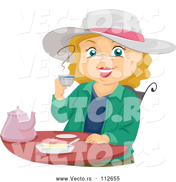 Vector of Cartoon Senior White Lady Smiling and Drinking Tea