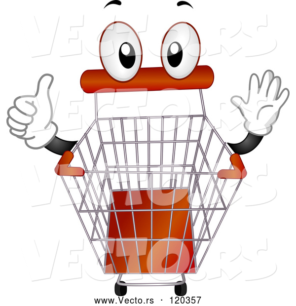 Vector of Cartoon Shopping Cart Mascot Holding a Thumb up
