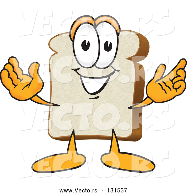 Vector of Cartoon Slice of White Bread Food Mascot Character with His Arms Open