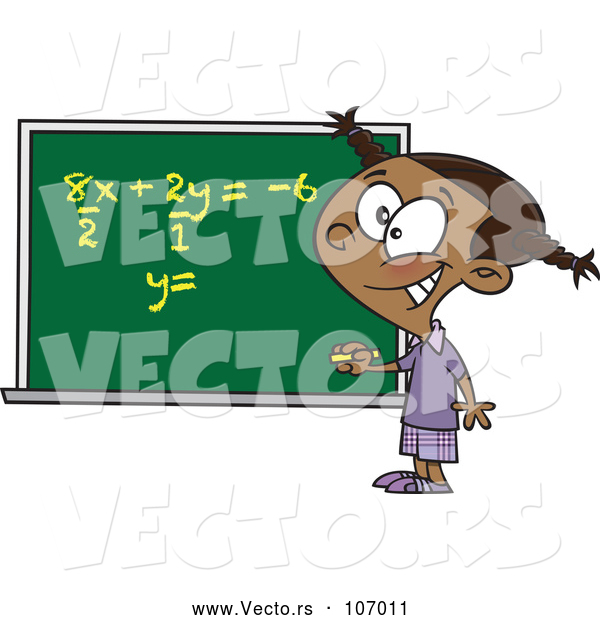 Vector of Cartoon Smart Black School Girl Solfing a Math Equation on a Chalk Board