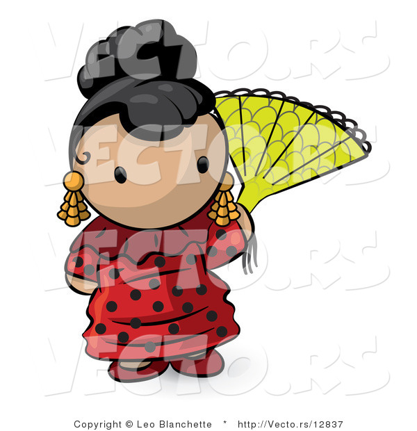 Vector of Cartoon Spanish Girl with a Fan and Red Dress