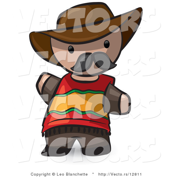 Vector of Cartoon Spanish Guy Wearing Cowboy Hat and Moustache