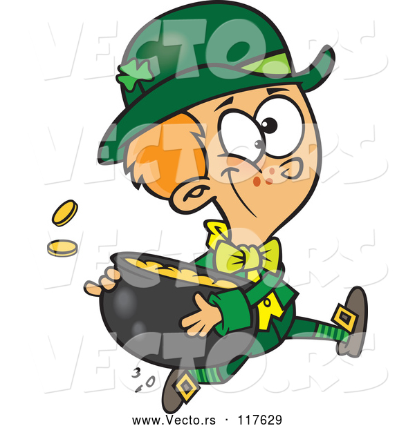 Vector of Cartoon St Patricks Day Leprechaun Boy Running with a Pot of Gold