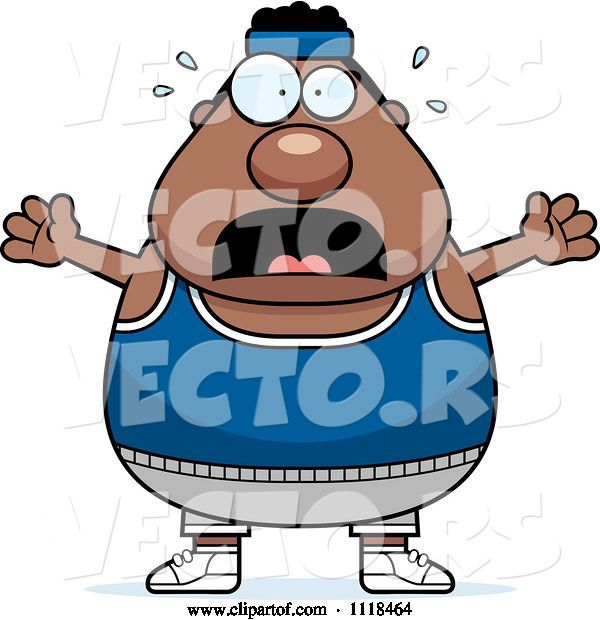 Vector of Cartoon Stressed Plump Black Gym Guy