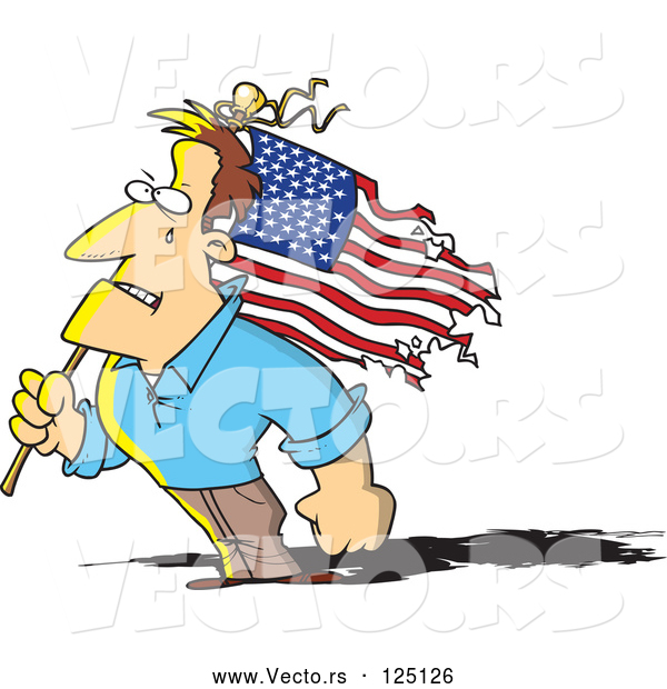 Vector of Cartoon Strong Guy Holding a Battered American Flag