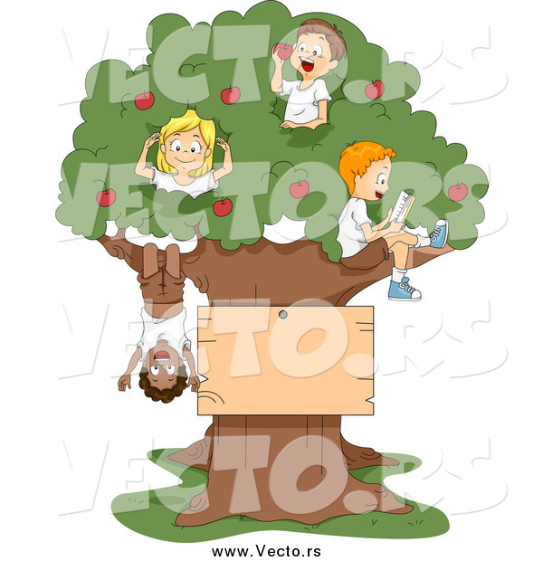 Vector of Cartoon Summer Kids Playing in an Apple Tree with a Blank Sign