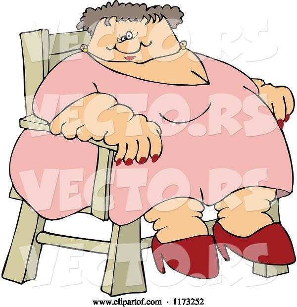 Vector of Cartoon Super Fat White Lady Sitting in a Chair